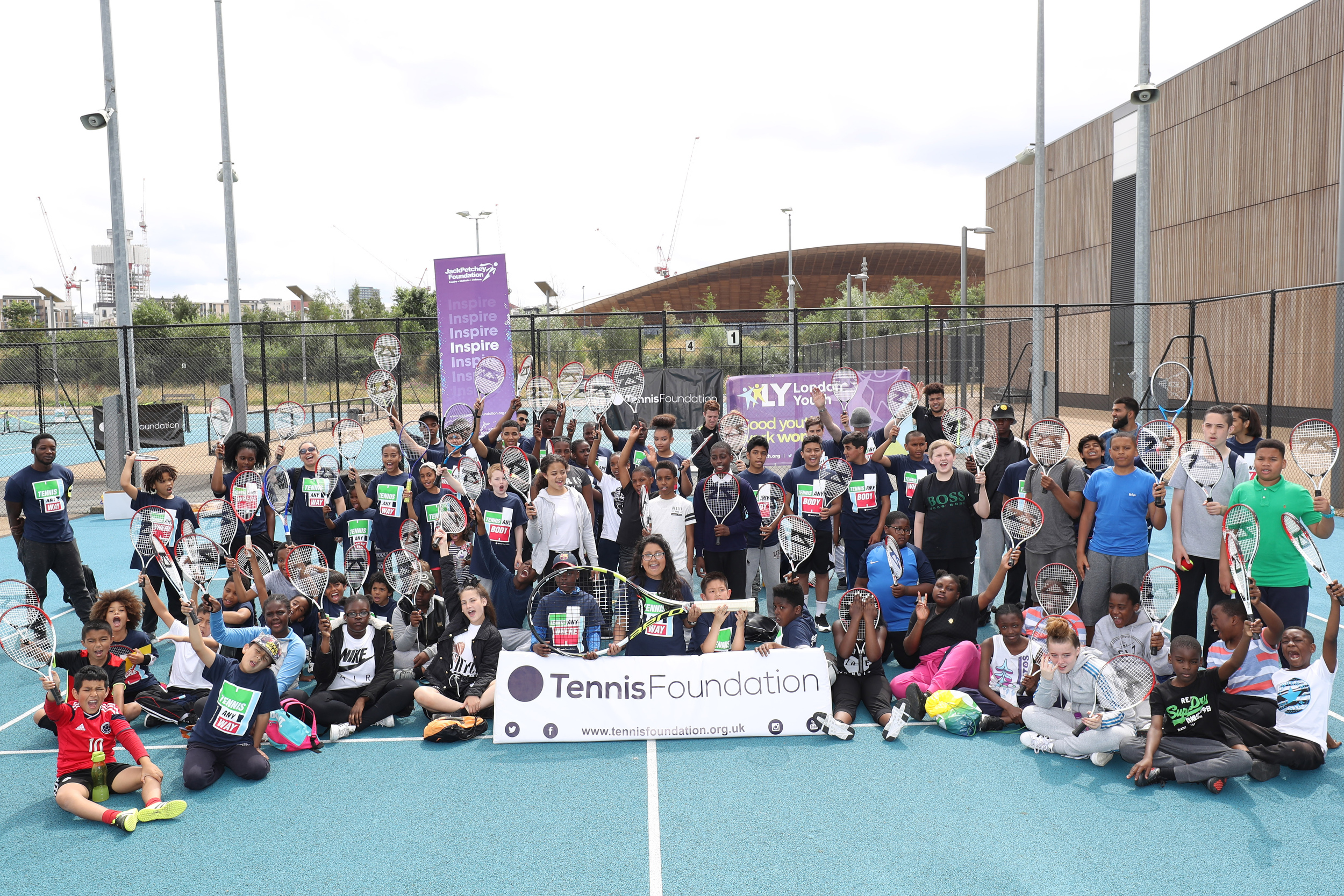 Children at London Youth and Tennis Foundation Serves festival