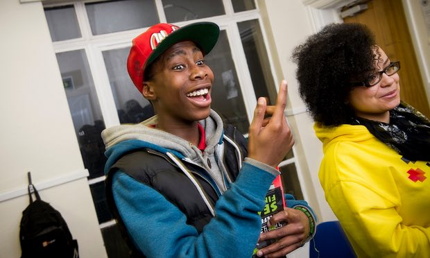 Young people at youth club