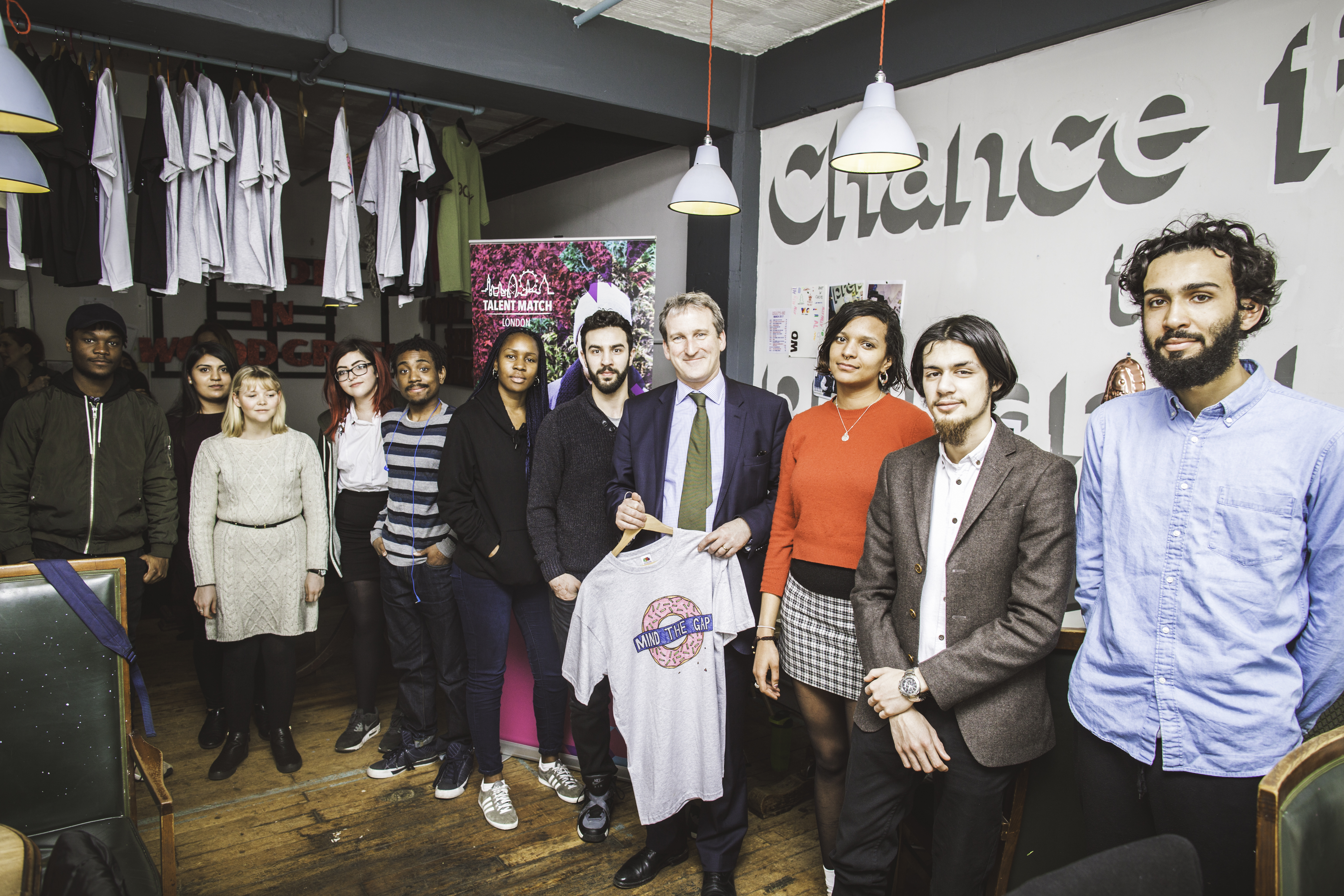 Damian Hinds and young people from Talent Match London