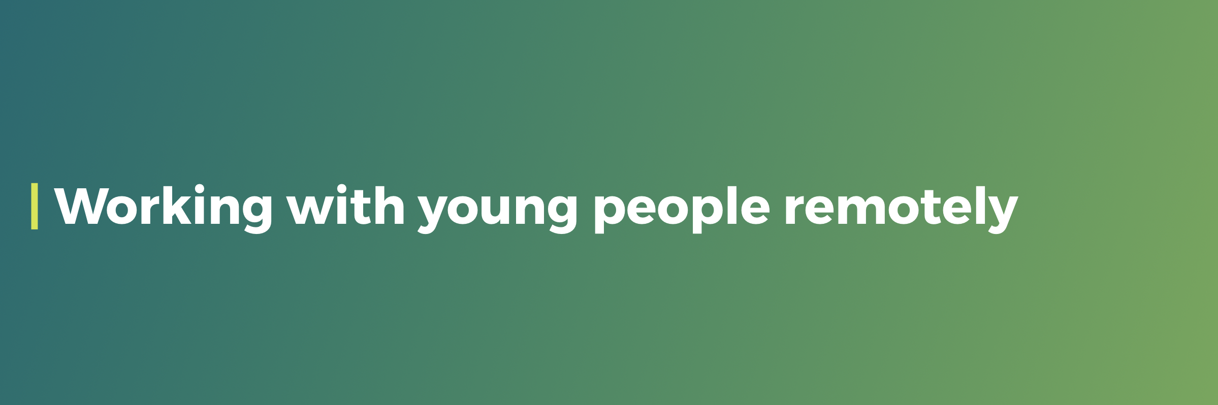 working with young people remotely